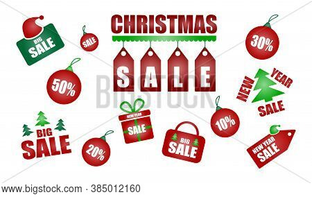 Vector Collection Of New Year Discount Price Tags. Isolated Sale Offer Banner And 24 Hour Sale Promo