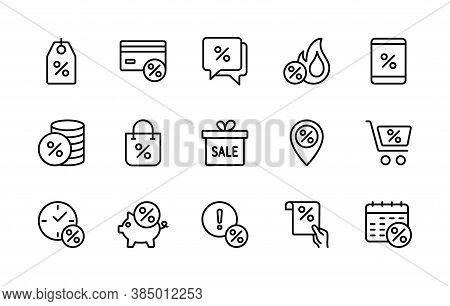 Discount Business Sales, Vector Linear Icons Set. Sale Management. Coupon, Percent Ribbon, Discount