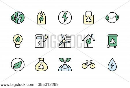Eco Friendly And Alternative Energy Sources. Simple Set Of Colored Vector Linear Icons. Linear Symbo