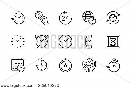 Time And Clock, Vector Linear Icons Set. Time Management. Timer, Speed, Alarm, Recovery, Time Manage