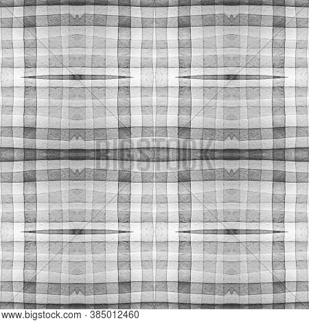 Gray And White Scottish Check. Watercolor Tartan Repeat. Woven Geometric Stripes For Cloth Design. S