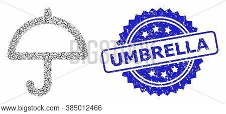Umbrella Unclean Stamp And Vector Recursion Mosaic Umbrella. Blue Stamp Seal Contains Umbrella Text