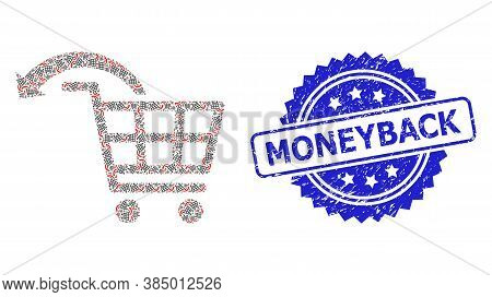 Moneyback Textured Stamp And Vector Recursion Mosaic Undo Shopping Order. Blue Stamp Seal Contains M