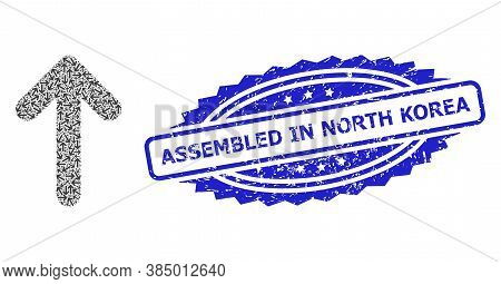 Assembled In North Korea Grunge Stamp Seal And Vector Recursive Mosaic Up Arrow. Blue Seal Has Assem