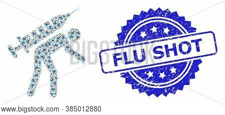 Flu Shot Unclean Seal And Vector Recursive Collage Vaccine Courier. Blue Seal Contains Flu Shot Capt