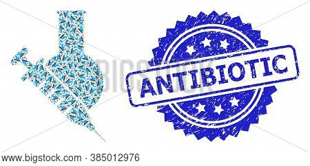 Antibiotic Dirty Seal Print And Vector Fractal Collage Vaccine Labs. Blue Stamp Seal Has Antibiotic