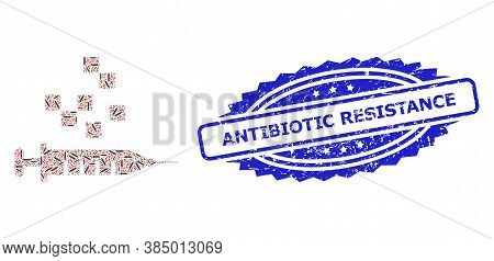 Antibiotic Resistance Rubber Stamp And Vector Recursive Mosaic Vaccine Synthesis. Blue Stamp Seal In