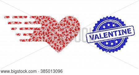 Valentine Unclean Seal Imitation And Vector Recursive Mosaic Valentine Heart. Blue Seal Contains Val