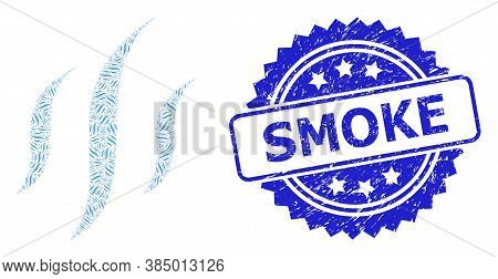 Smoke Rubber Stamp Seal And Vector Recursive Collage Vapor. Blue Stamp Seal Includes Smoke Text Insi