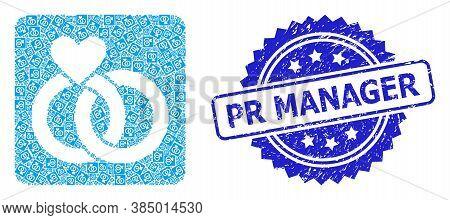 Pr Manager Grunge Stamp And Vector Recursive Composition Wedding Rings. Blue Stamp Seal Includes Pr