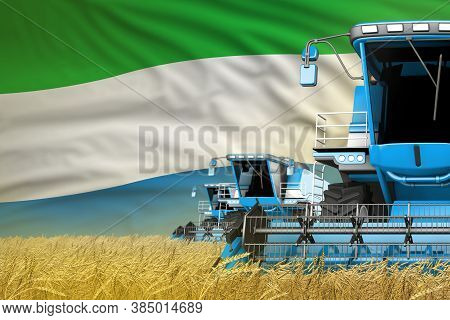 Industrial 3d Illustration Of Three Blue Modern Combine Harvesters With Sierra Leone Flag On Rye Fie