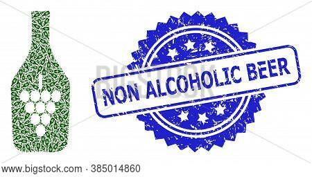 Non Alcoholic Beer Grunge Seal Print And Vector Recursion Mosaic Wine Bottle. Blue Stamp Seal Includ