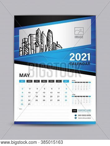 Wall Calendar Template For 2021 Year. May Month Layout. Desk Calendar 2021 Template With Illustratio
