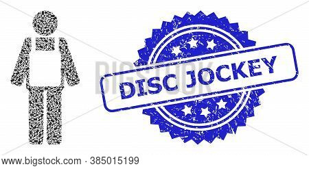 Disc Jockey Scratched Stamp Seal And Vector Recursion Mosaic Worker Person. Blue Seal Has Disc Jocke