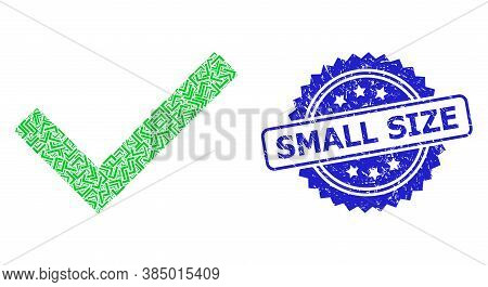 Small Size Unclean Stamp Seal And Vector Recursion Composition Yes Tick. Blue Stamp Seal Contains Sm