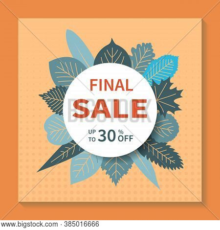 Final Sales, Square Vector Banner Design. Abstract Geometric Tag Template With Specials Discounts, S