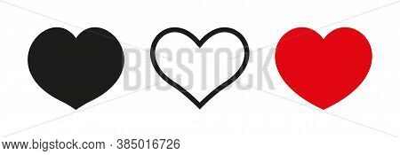 Heart And Love, Collection Linear Icons. Set Of Heart And Love For Gift And Decoration, Icons For Va
