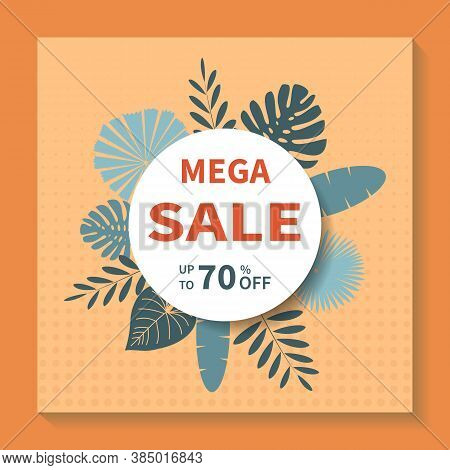 Square Vector Banner Design For Mega Big Sales. Abstract Geometric Tag Template With Specials Discou