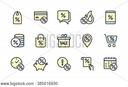Percentage Discount For Business, Vector Color Linear Icons Set. Sale Management. Coupon, Percent Di