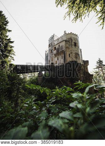 Burg Grimmenstein Castle In Lower Austria Framed By Green Leaves