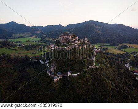 Aerial View Of Medieval Castle Burg Hochosterwitz In Carinthia Austria