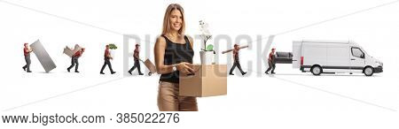 Young woman with a moving box and movers in the back putting household items in a white van isolated on white background