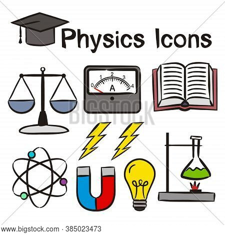 Set Of Hand-drawn Icons On The Theme Of Physics. Pictograms Of Ammeter, Molecules, Flask, Magnet, Li
