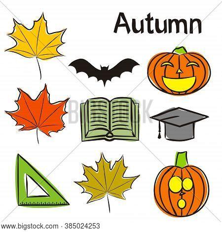 Time Of Year - Autumn Elements For Seasonal Calendar. Hand-drawn Autumn Maple Leaves, Halloween Pump