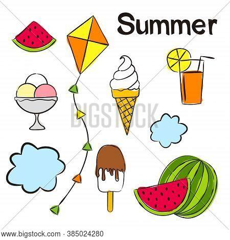 Time Of Year - Summer. Elements For Seasonal Calendar. Hand-drawn Ice Cream, Watermelon, Lemonade, K