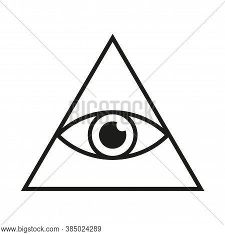 Eye In Triangle Simple Minimalistic Symbol. All Seeing Illuminati Eye Pyramid Isolated Vector Illust