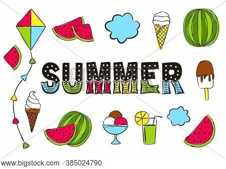 Summer Lettering. Elements For Seasonal Calendar. Hand-drawn Ice Cream, Watermelon, Lemonade, Kite A
