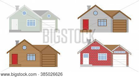 Vector. 2d House Elevations Shown As Painted, Wood Log Siding, Vinyl Siding House And Red Brick Hous