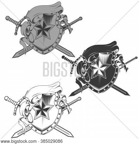 Illustration Of Coat Of Arms With Ribbons And Two Grayscale Swords All On White Background