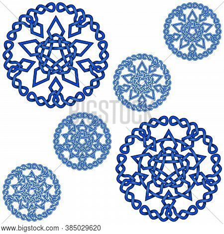 Vector Illustration Of Intertwined Stars With Circular Decoration In Celtic Style, Easy To Edit And