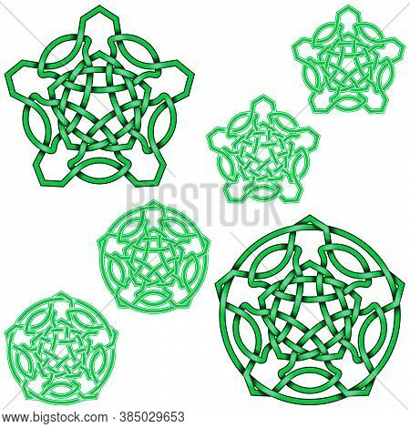 Vector Illustration Of Interlocking Five-pointed Stars In Celtic Style Surrounded By Circle, Easy To