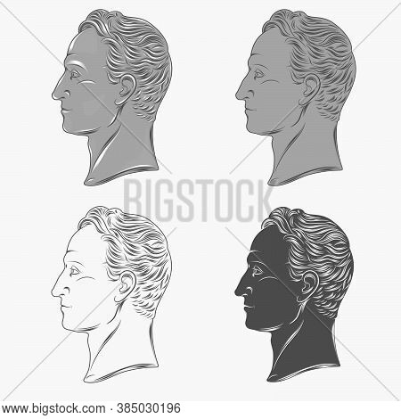 Vector Design Of The Profile Bust Simon Bolivar Liberator Of Venezuela, Which Appears In Currency An