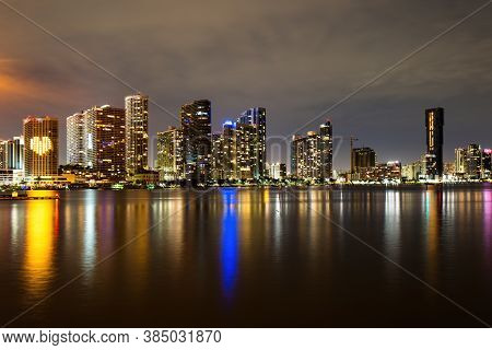 Miami Skyline. Miami Florida, Sunset Panorama With Colorful Illuminated Business And Residential Bui
