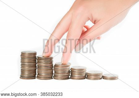 Climbing Coin Bar. Two Fingers Climbing Stacks Of Coins, Money Stairs