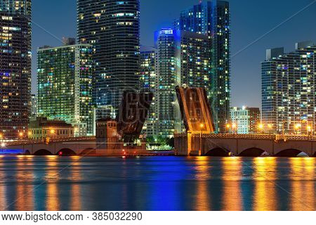 Miami Downtown. Downtown Miami Skyline At Dusk, Florida