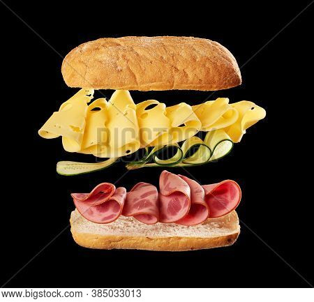 Flying Sandwich Layers Baked Ciabatta Bun, Thinly Sliced Beef Sausage, Edam Cheese And Cucumbers, Bl