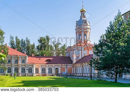 Saint Petersburg, Russia - July 26, 2019: Southern Seminary Building, Southwest Tower (ancient Stora