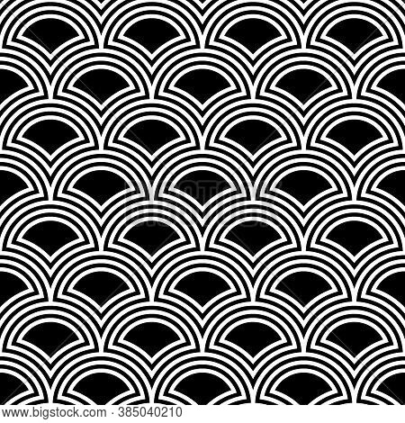 Fish Scale Wallpaper. Asian Traditional Ornament With Repeated Scallops. Repeated Black Figures On W