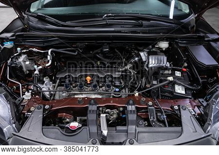 Novosibirsk, Russia - August  07, 2020 : Honda Cr-v, Close Up Detail Of  Car Engine, Front View. Int
