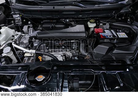 Novosibirsk, Russia - August  07, 2020 : Nissan X-trail, Close Up Detail Of  Car Engine, Front View.