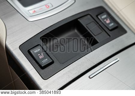 Novosibirsk, Russia - August  07, 2020 : Subaru  Outback,close-up Of Black Of Seat Heating Buttons O