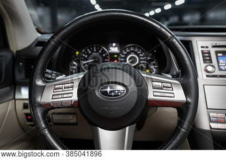 Novosibirsk, Russia - August  07, 2020 : Subaru  Outback, Salon Of A New Stylish Car, Steering Wheel