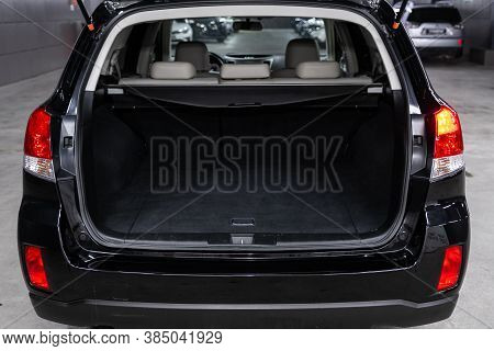 Novosibirsk, Russia - August  07, 2020 : Subaru  Outback, Close-up Of The Open Trunk, Headlight, Bum