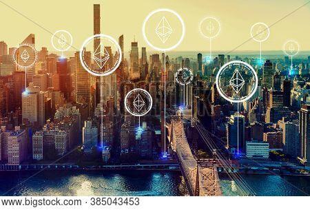 Ethereum With The New York City Skyline Near Midtown