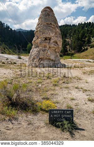 Liberty Cap, A Dormant Hot Spring Cone In Mammoth Hot Springs Area Of Yellowstone National Park