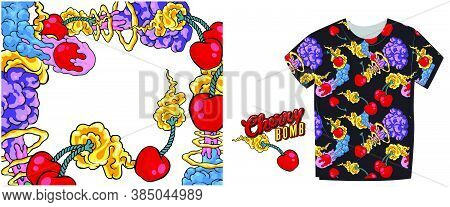 Cherry Bomb. Hand-drawn Comic Book Style Cartoon Flaming Cherry. Sticker For Social Networks. Vector